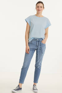 MAC high waist tapered fit jeans Mina d277 greyish blue wash, D277 greyish blue wash