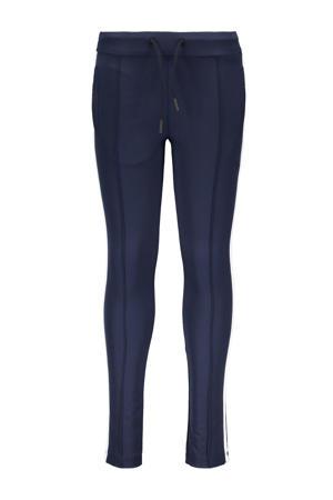 slim fit joggingbroek No mercy met zijstreep donkerblauw/wit