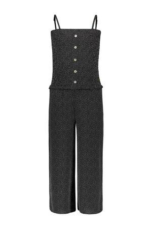 jumpsuit Dotty met stippen zwart/wit