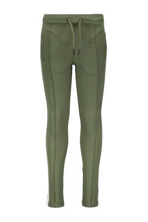 slim fit broek No mercy met zijstreep army groen/off white