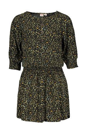 jurk Lola met dierenprint armygroen/geel