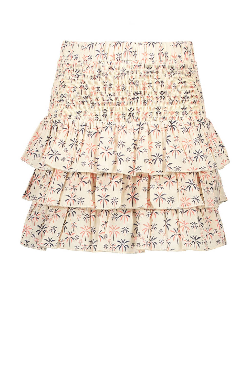 Street called Madison rok Lollypop met all over print en ruches offwhite/roze, Offwhite/roze