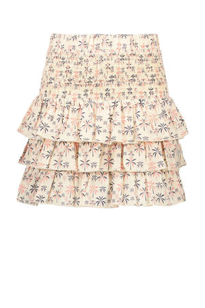 rok Lollypop met all over print en ruches offwhite/roze