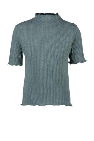 gemêleerd ribgebreid T-shirt Bobby donker mintgroen melée