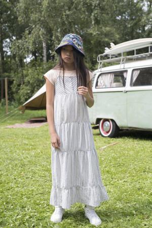 gestreepte maxi A-lijn jurk Lila wit/blauw