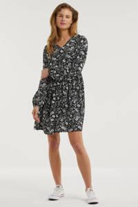 anytime jurk met bloemenprint zwart/ecru, Zwart/ecru
