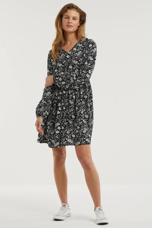 jurk met bloemenprint zwart/ecru