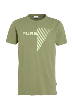T-shirt met logo olijfgroen