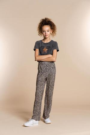 flared broek met panterprint zand/zwart