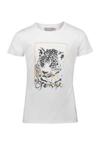 Geisha T-shirt met printopdruk en glitters off white, Off White