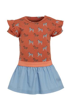 B.E.S.S baby jurk met all over print en ruches bruin/blauw