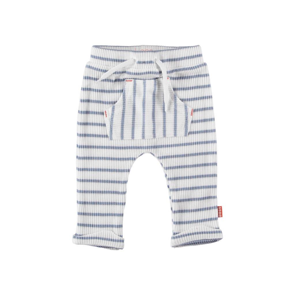 B.E.S.S gestreepte badstof regular fit broek wit/lichtblauw, Wit/lichtblauw