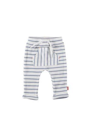 B.E.S.S gestreepte badstof regular fit broek wit/lichtblauw