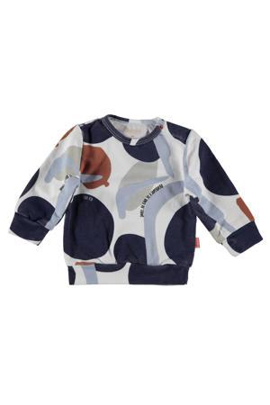 B.E.S.S sweater met all over print grijs/blauw/bruin