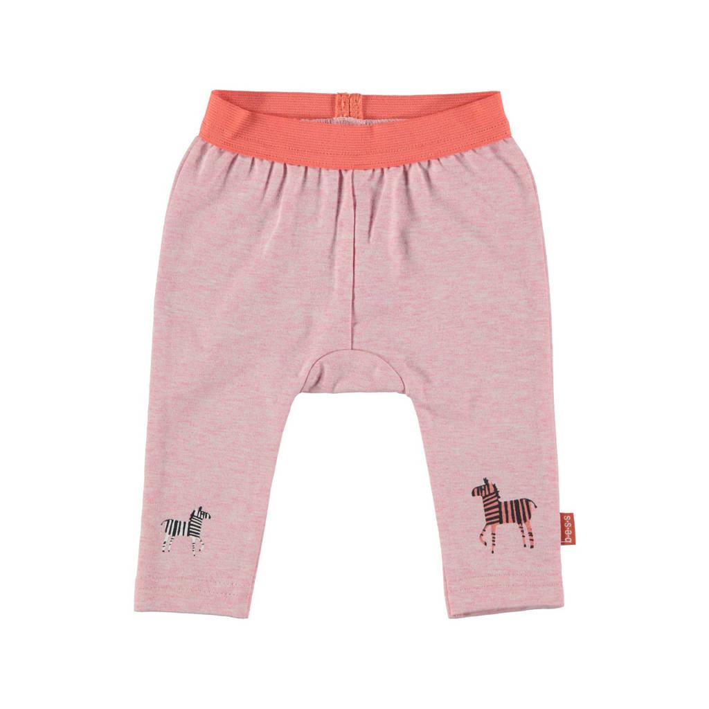 B.E.S.S regular fit broek met dierenprint lichtroze, Lichtroze