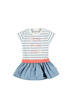 B.E.S.S gestreepte jurk lichtblauw/wit/roze