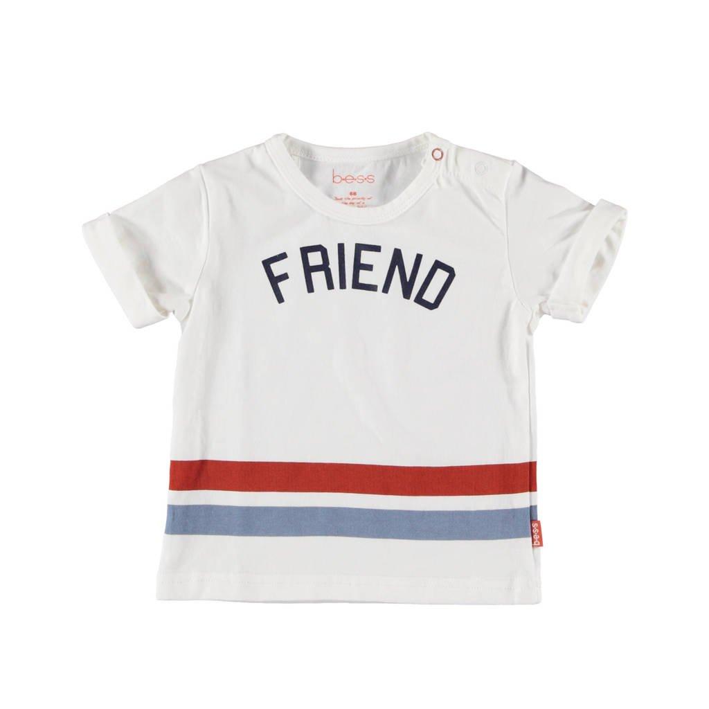B.E.S.S T-shirt met tekst wit/blauw/rood, Wit/blauw/rood