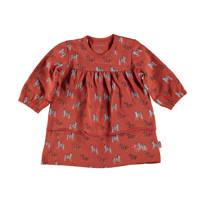 B.E.S.S jurk met dierenprint en ruches bruin/grijs/zwart