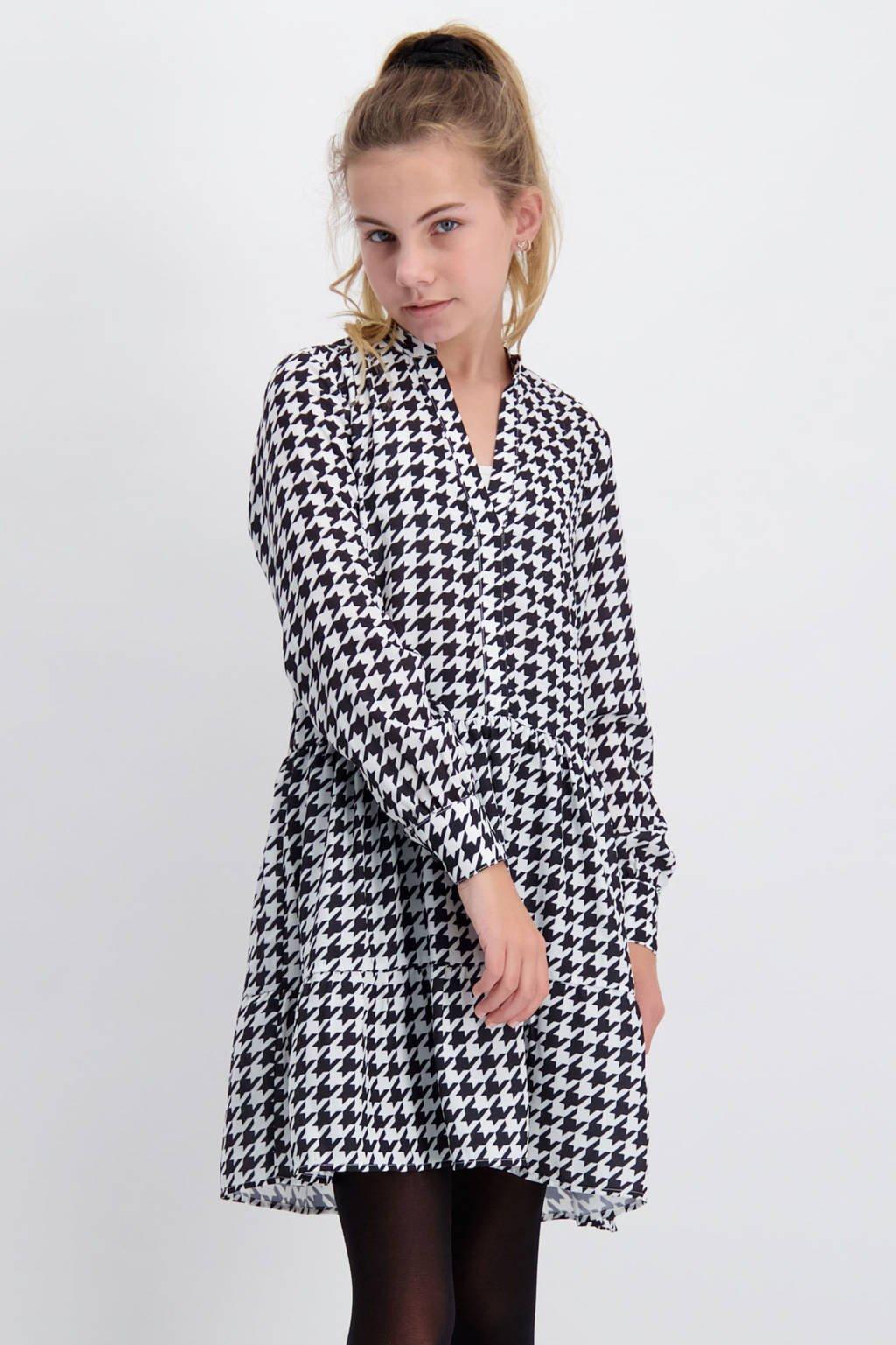 Cars jurk Leilani met pied-de-poule en volant zwart/wit, Zwart/wit