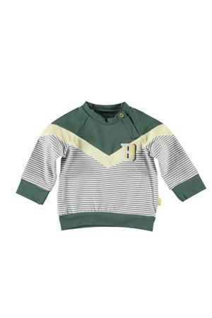 B.E.S.S baby sweater groen/geel/wit