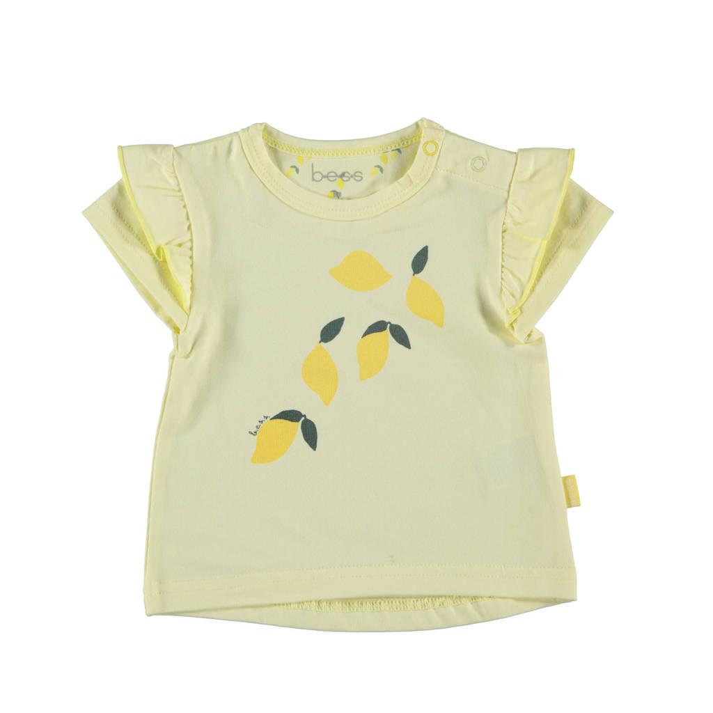 B.E.S.S baby T-shirt met fruitprint en ruches lichtgeel, Lichtgeel