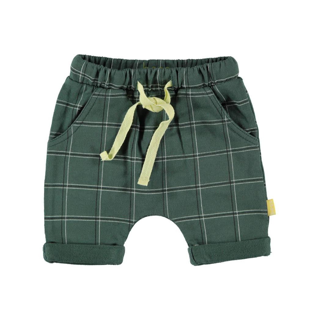 B.E.S.S baby geruite short groen, Groen