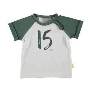 B.E.S.S baby T-shirt met printopdruk groen/wit