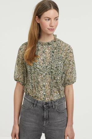 blouse BYISAK SHIRT - met all over print en ruches groen