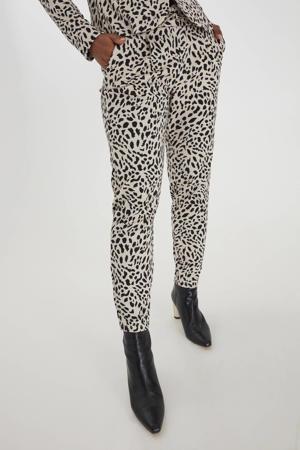 slim fit broek Rizetta crop pants - met all over print ecru/zwart