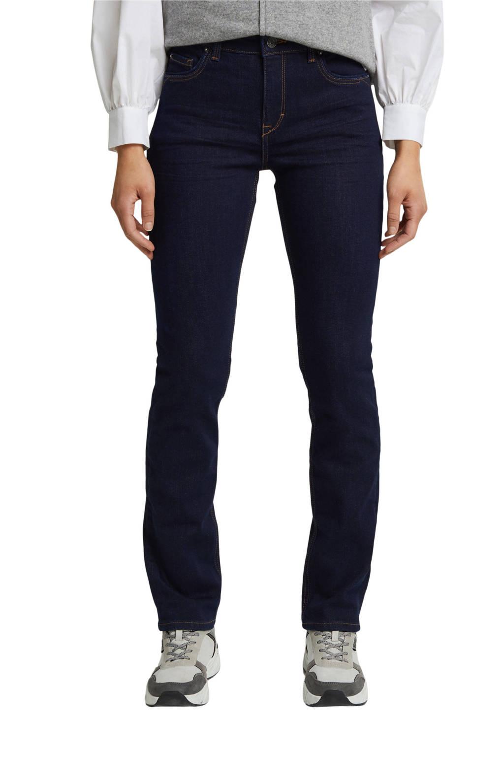 ESPRIT Women Casual straight fit jeans dark denim, Dark denim