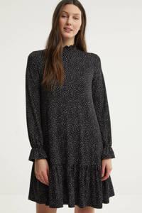 edc Women jurk met stippen en ruches zwart/wit, Zwart/wit