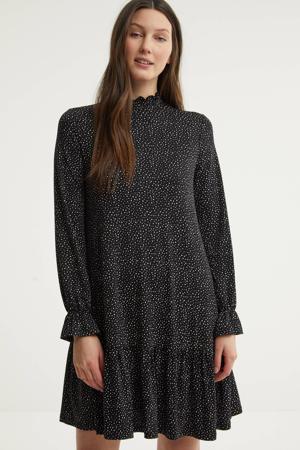 jurk met stippen en ruches zwart/wit
