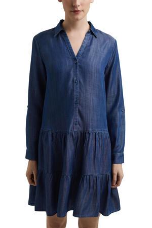 blousejurk met plooien donkerblauw