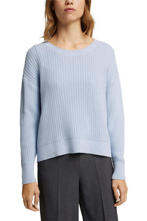 gebreide trui van biologisch katoen lichtblauw