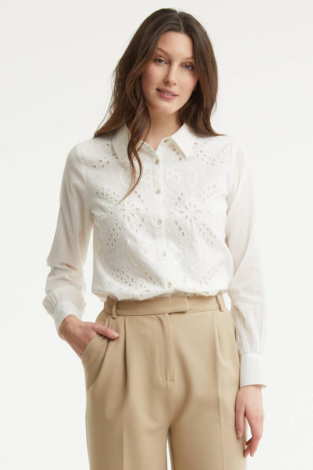 Cream blouse met open detail wit, Wit