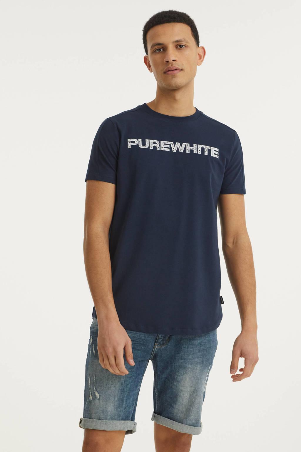 Purewhite T-shirt met printopdruk blauw, Blauw
