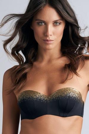 strapless bandeau bikinitop Isthar zwart/goud