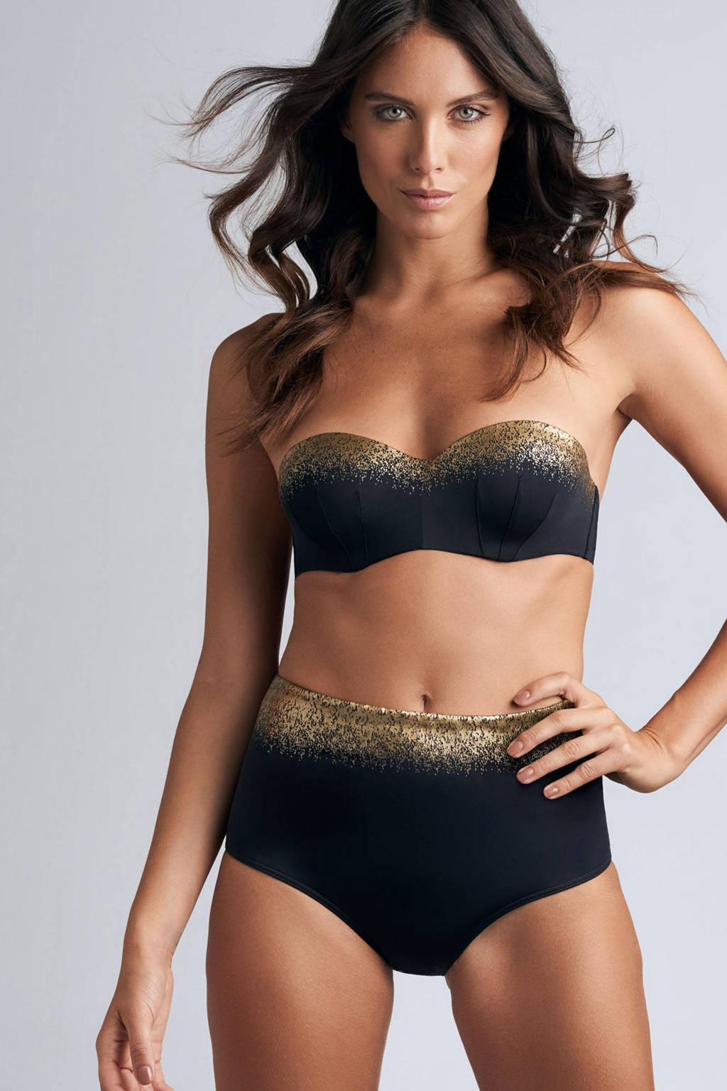 marlies dekkers high waist bikinibroekje Isthar zwart/goud, Zwart/goud