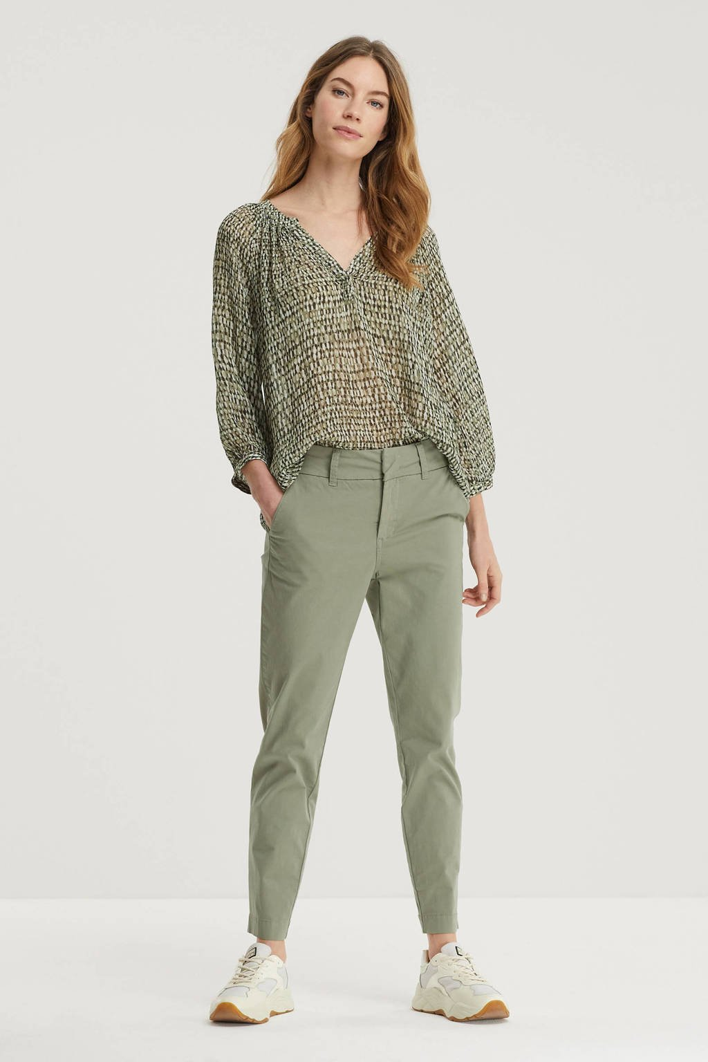 Part Two high waist tapered fit broek Soffys groen, Groen