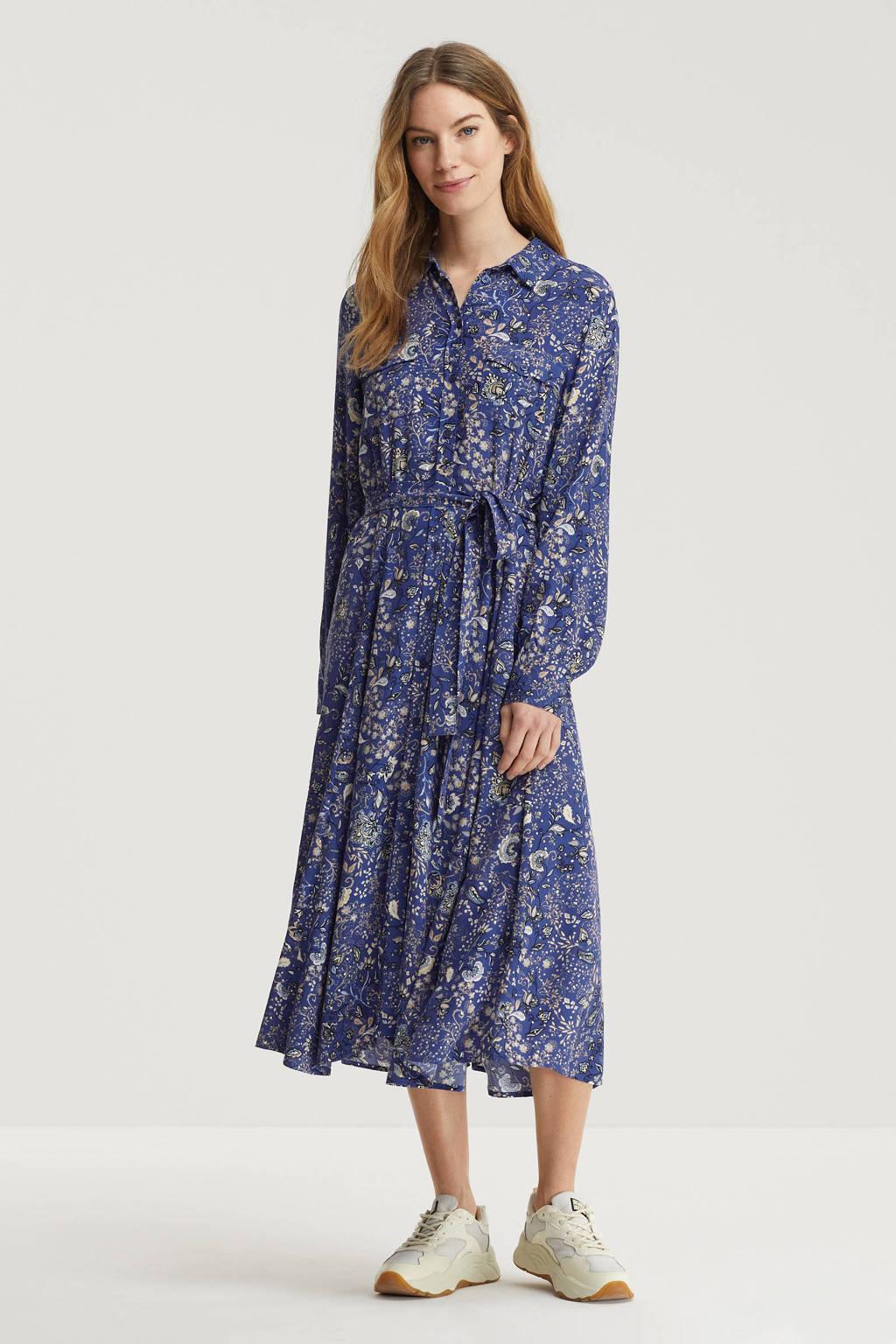 Part Two maxi jurk met all over print en ceintuur blauw, Blauw