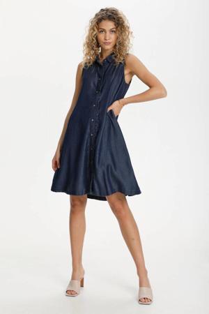 blousejurk DHCala Dress met ruches 100065 dark blue/ blue wash