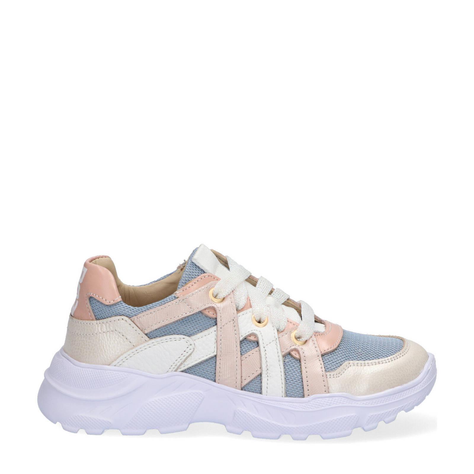 Braqeez Reny Run leren chunky sneakers blauw/multi online kopen