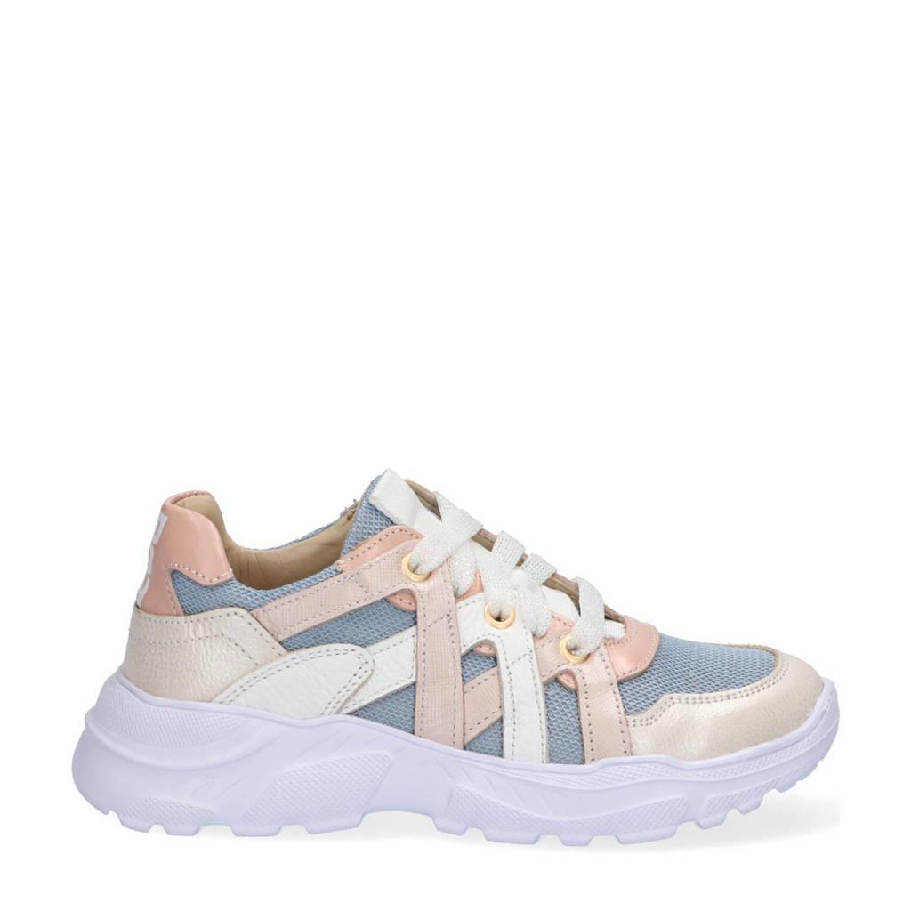 Braqeez Reny Run  leren chunky sneakers blauw/multi, Blauw/roze
