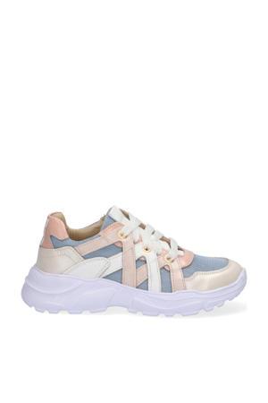 Reny Run  leren chunky sneakers blauw/multi