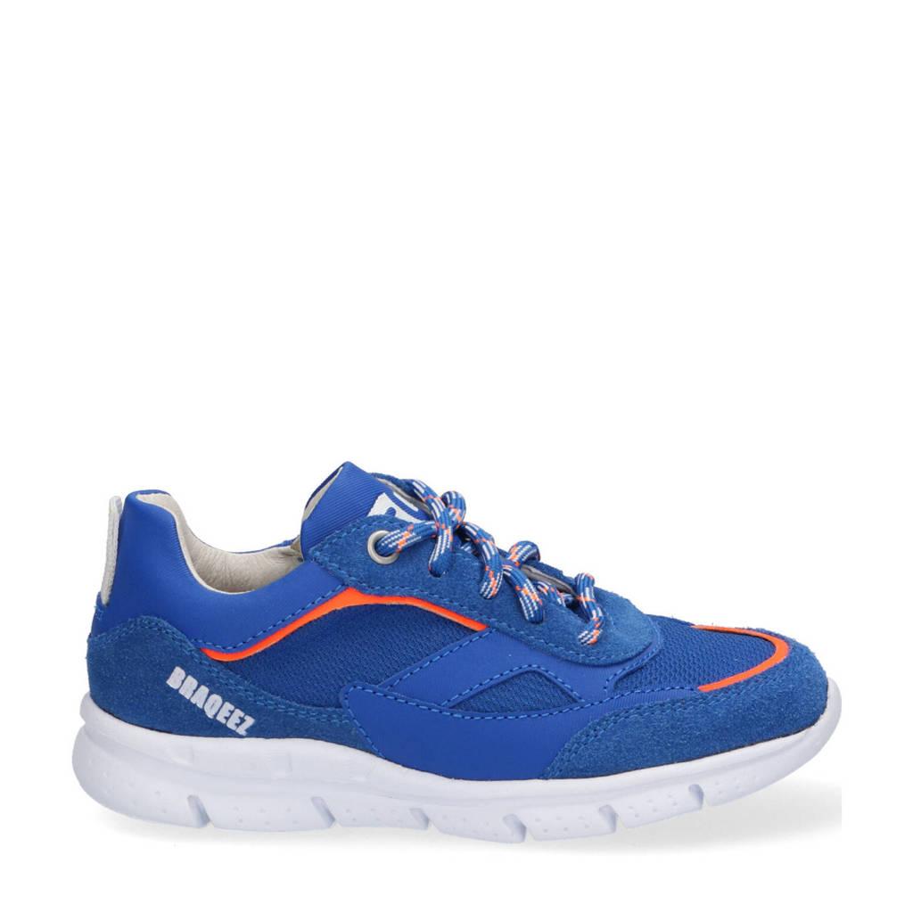 Braqeez Mich Malta  suède sneakers blauw, Blauw
