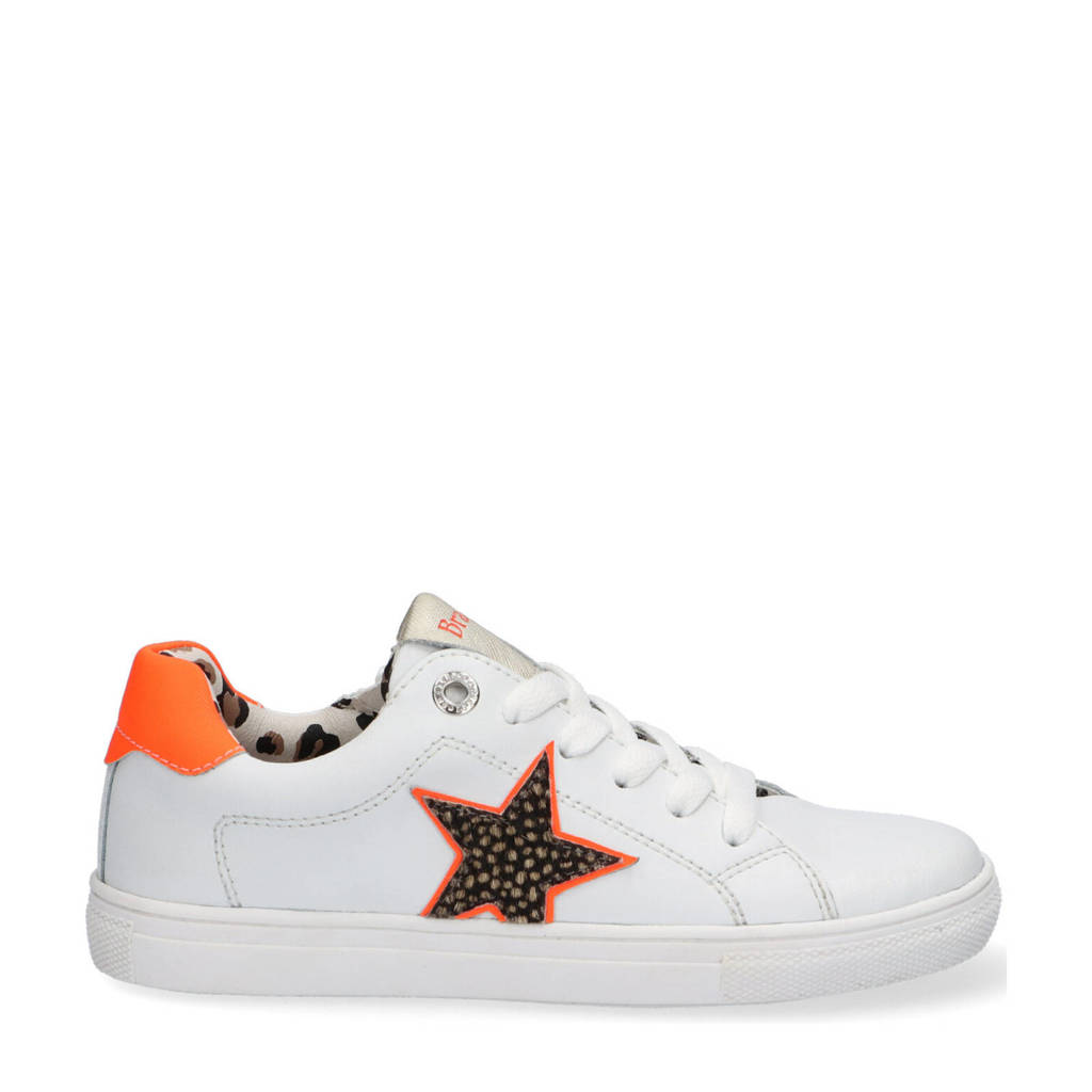 Braqeez Leigh Louwies  leren sneakers wit/oranje, Wit/oranje