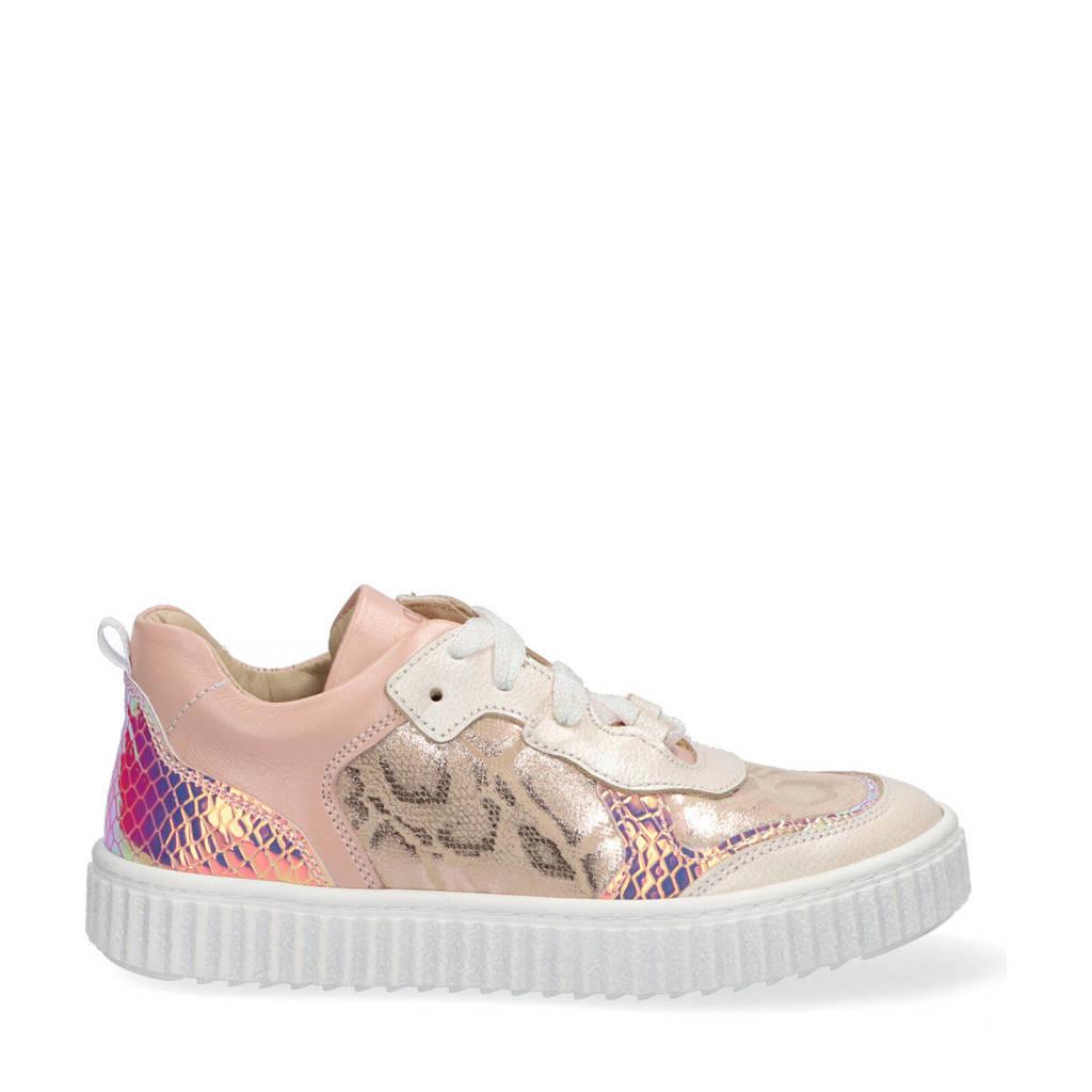 Braqeez Pia Paris  leren sneakers met slangenprint roze, Roze