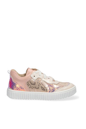 Pia Paris  leren sneakers met slangenprint roze