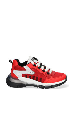 Gio Genna  leren chunky sneakers rood/wit