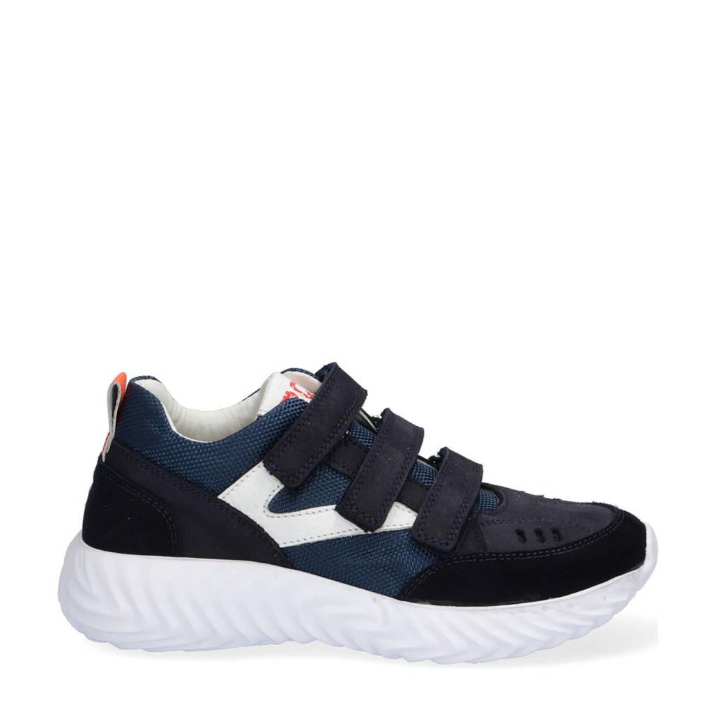 Braqeez Felix Faro  nubuck sneakers donkerblauw, Donkerblauw/wit